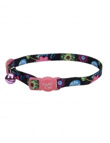 COLLAR GATO FASHION FLORES NEGRO